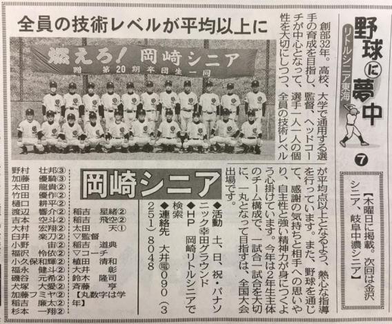 中日スポーツ紙にチーム紹介が掲載(4月13日朝刊)